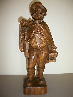 Vtg. Hand Carved German Black Forest Wood Town Crier Figurine 14""