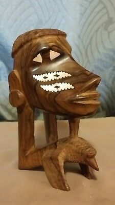 Beautiful Tribal Wood Carving with Mother of Pearl Inlay