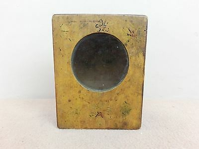 Antique Primitive Old Hand Painted Wooden Wall Hanging Clock Box With Glass