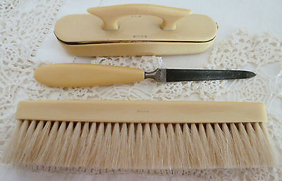 Birks Vanity Set French Ivory Nail File, Buffer& Case Clothes Lint Brush Antique