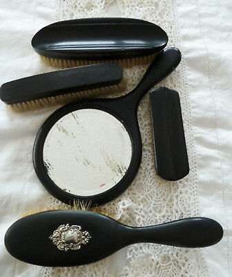 Real Ebony Silver Hairbrush Mirror Clothes & Nail Pure Bristles Brushes Antique