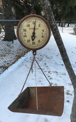 Vintage Detecto Double Sided 40 Lbs Hanging Farm Produce Scale W Basket