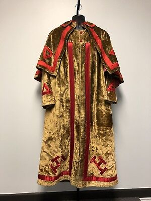 1920'-30' Scottish Rite Regalia Robe w/Cape. Plush Velvet. Medieval Renaissance