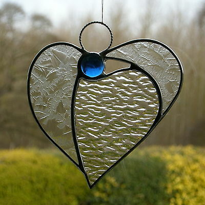 Abstract Stained Glass ornament Angel Heart two types of clear textures & blue
