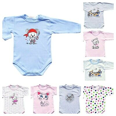 *new* Baby Boy Girl Bodysuits Babygrows  With Lovely Prints! 100% Cotton