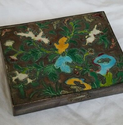 Vintage Chinese Export Cloisonne Silver Tone Pill Box