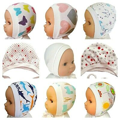 *newborn - 12 Months* White Unisex Baby Hats With Laces / Tied Up  100%cotton