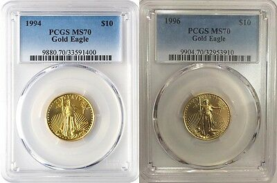 1994 & 1996 $10 GOLD EAGLE PCGS MS70 VERY LOW POP 21 & 20 Low Mintage