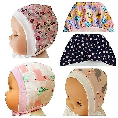 *Newborn - 12 Months* Pink Baby Hats Bonnets With Laces / Tied Up 100% Cotton