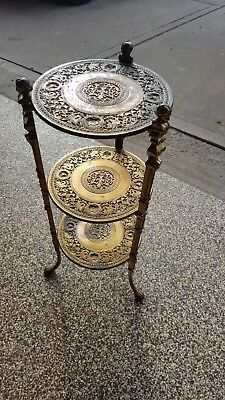 Vintage Antique BRASS 3 Tier Plant Stand Table Cherub Lion ArtNouveau Hollywood