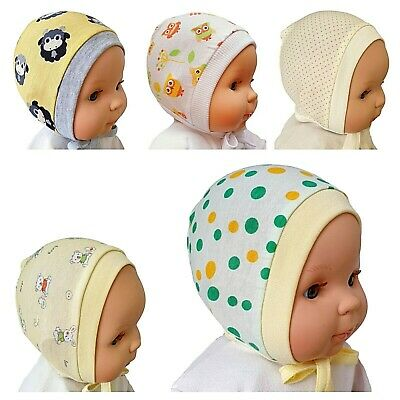 *SALE!* Newborn 0-3  3-6 Months GREEN PRINTED BABY HATS WITH LACES 100% COTTON