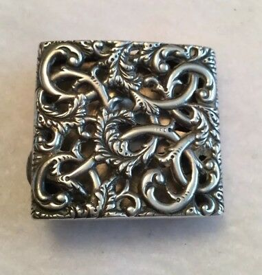 Antique Sterling Silver Repousse Pill Box Or Money Holder Dated 1892