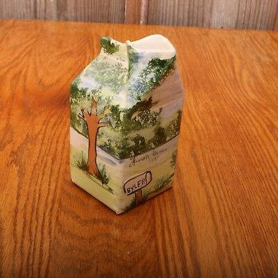 Milk Carton Jug Porcelain Creamer Pitcher Decorative Trees House