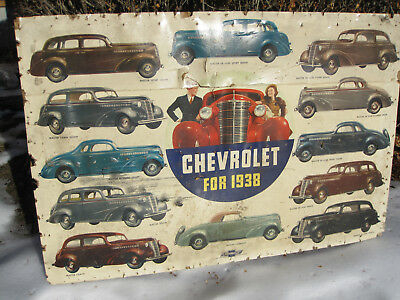3-Original 1938 Chevrolet Showroom Wall Advertising Signs