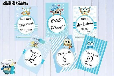 Baby Milestone Cards-Baby Shower Gift-Photography-Owls-Baby Gift-Boys-30 Cards