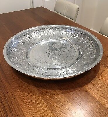 Silver Metal Decorative Tray Plate Bowl Centerpiece