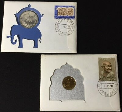 Lot/2 1969/1971 India 20 Paise/10 Rupees In Org. Cover Gandhi Cancel/overprint