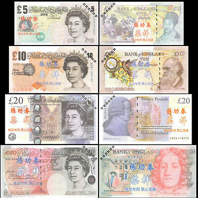 England Training Money 5 10 20 50 Pounds (4 Pcs Set),  Fantasy not real