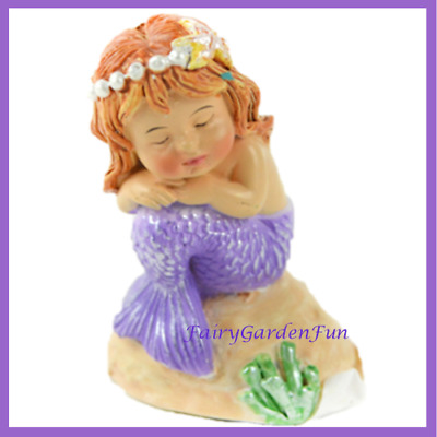 Fairy Garden Fun Sleeping Mermaid Baby Purple Tail on Sand