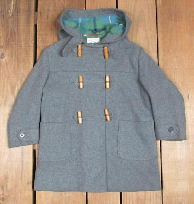 Vintage 1940s Lord & Taylor Gray Wool Toggle Jacket Coat w/ Hood Childrens Sz.6