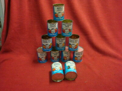 12 Vintage Gerber Baby juice Cans Good Condition Year Unknown opened