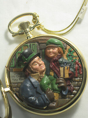 Vintage Dept 56 Dickens Pocket Watch Ornament Gold Tiny Tim A Christmas Carol