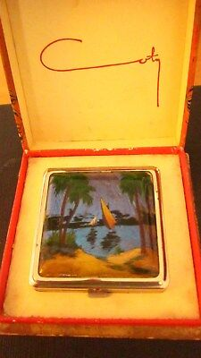 1930,s butterfly wing powder compact by COTY in original box with fab NILE dhows