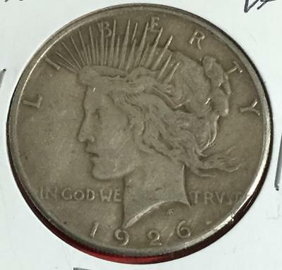 1926 US Peace SILVER Dollar! Very Fine! Lower Mintage! Old US Coins!