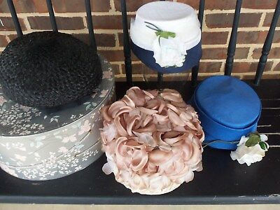 LOT of FOUR  Vintage Lady's Hats 1940s Pillbox Straw Flowers!
