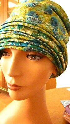 1950,s pleated floral mettalic damask turban from Eva Mae Modes.Preloved vintage