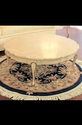 Vintage French Provincial Style Marble Top Furniture Coffee Table