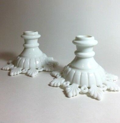 Vintage Elegant Pair Westmoreland Milk Glass Candle Holders Ring & Petal Pattern