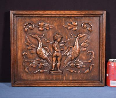 *Antique French Renaissance Highly Carved Solid Oak Panel with Boy