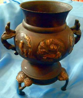 FINE Antique Imperial CHINESE ARCHAISTIC Bronze  Vase  Qing Dynasty 10""