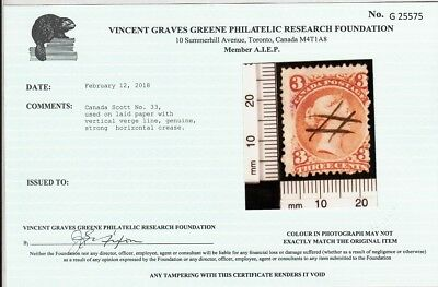 CANADA # 33 Laid paper with Vertical Verge Line with Green Certif...3 scans