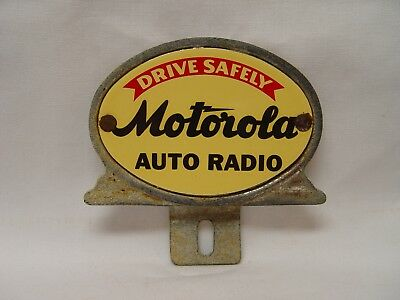 Motorola Auto Radio Drive Safely Porcelain Chrome Plated License Plate Topper
