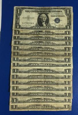 1935D-1957B $1 Blue SILVER Certificates X336 Set of 15 Assorted! Rough Currency