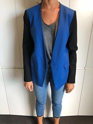 Tibi Jagger Suiting Blazer Jacket Pacific Blue And Back Size 4US