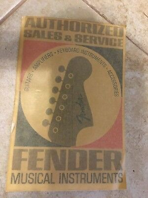 60s 70s Fender guitars Authorized Dealer Window Decal Meyercord Original Rare