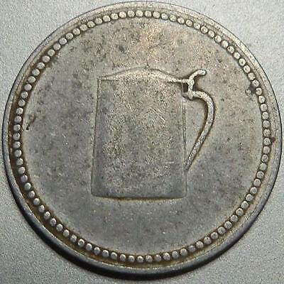 Germany-WW1 BEER ration coin-one glass/mug lager token-rare German War coinage