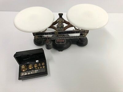 Vintage Ohaus Fisher USA  Balance Scale Dual Milk Glass & Weight Kit NO RESERVE