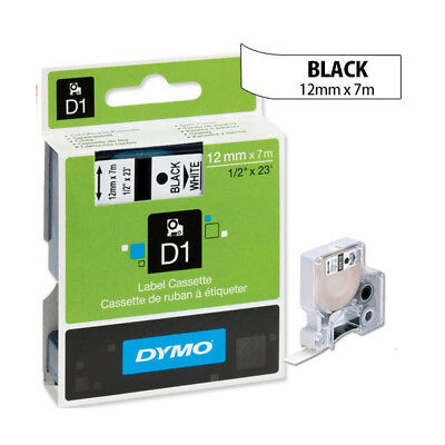 Genuine Dymo D1 Label Tape 12mm Black on White 45013 - 7 m Self Adhesive Labels