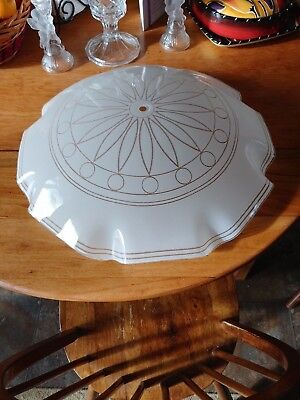 """Vintage 18 3/4"""" Art Deco Frosted With Sparkling Silver Patterned Light Fixture"""