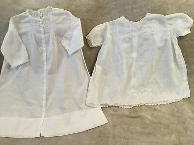 Two Vintage Victorian Style Hand Made Baby Dresses Embroidered Smocked Dress