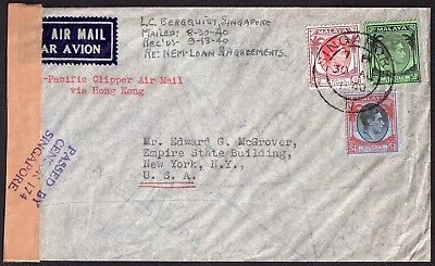1940 Cover - Singapore to USA - Censored AirMail