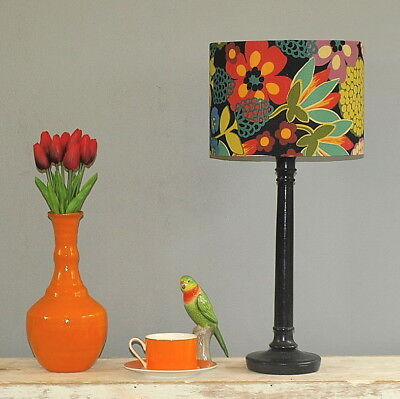 Aus Made Lampshade Black/Multi Floral Drum, 2 Fittings Made to Order 1-2 weeks
