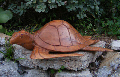 Tropical Nautical Turtle Hono Bali Wood Carving Statue Island Tiki Decor 15""