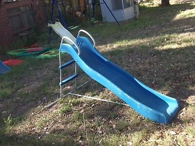 childrens childs kids out door play equipment free standing plastic slide old ??