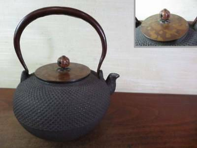 Japanese Antique KANJI old Iron Tea Kettle Tetsubin teapot Chagama 2357