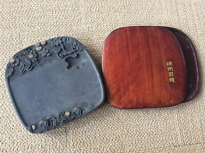 Chinese OLD INK STONE / 端州石硯 / W 25 × D 26 × H 6.5[cm] , 5270g